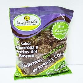 Galletitas dietéticas de avena y chía  sabor algarroba y frutos rojos La Zaranda